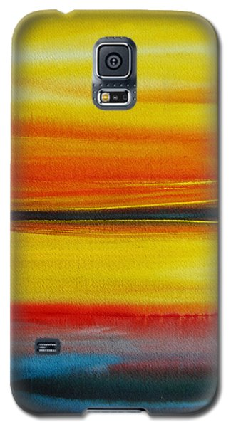 Galaxy S5 Case featuring the painting Sunset On The Puget Sound by Jani Freimann