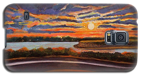 Galaxy S5 Case featuring the painting Sunset On The Road To Woods Hole by Rita Brown