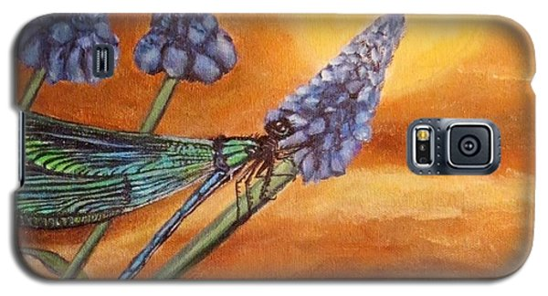 Galaxy S5 Case featuring the painting Summer Sunset Over A Dragonfly by Kimberlee Baxter