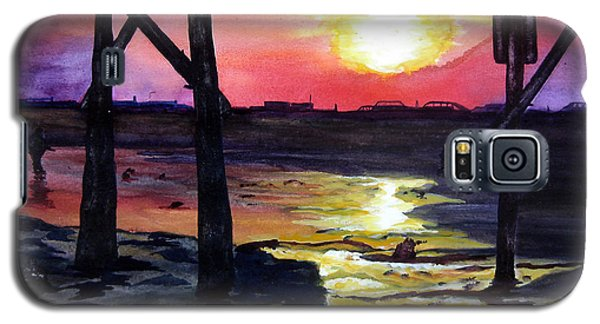 Galaxy S5 Case featuring the painting Sunset Pier by Lil Taylor