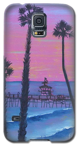 Galaxy S5 Case featuring the painting Sunset Pier by Mary Scott