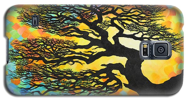 Galaxy S5 Case featuring the painting Sunset Pine by Jane Girardot