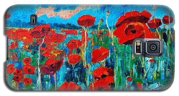 Galaxy S5 Case featuring the painting Sunset Poppies by Ana Maria Edulescu
