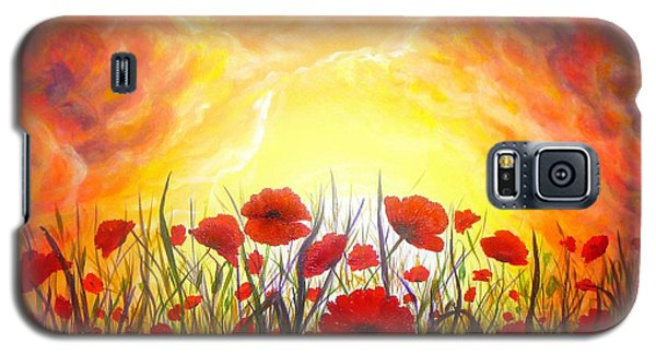 Galaxy S5 Case featuring the painting Sunset Poppies by Lilia D