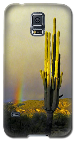 Galaxy S5 Case featuring the photograph Sunset Rainbow Cactus by John Haldane