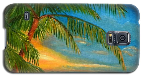 Galaxy S5 Case featuring the painting Sunset Reflections - Key West Sunset And Palm Trees by Shelia Kempf