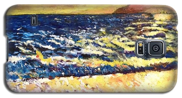 Galaxy S5 Case featuring the painting Sunset Rest - Drama At Sea by Belinda Low