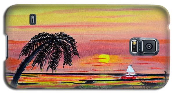 Galaxy S5 Case featuring the painting Sailing At Sunset by Melvin Turner