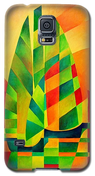 Galaxy S5 Case featuring the painting Sunset Sails And Shadows by Tracey Harrington-Simpson