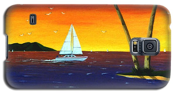 Galaxy S5 Case featuring the painting Sunset Sails by Lance Headlee
