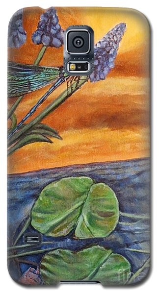 Galaxy S5 Case featuring the painting Sunset Setting Over A Dragonfly On A Water Lily Pond by Kimberlee Baxter
