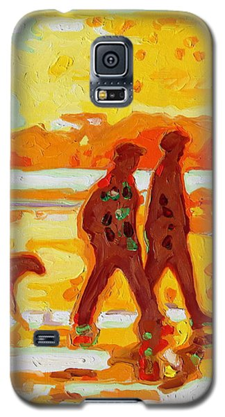 Galaxy S5 Case featuring the painting Sunset Silhouette Carmel Beach With Dog by Thomas Bertram POOLE