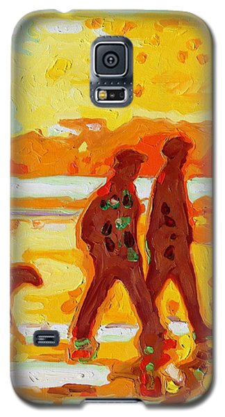 Sunset Silhouette Carmel Beach With Dog Galaxy S5 Case