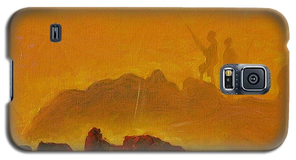 Galaxy S5 Case featuring the painting Sunset Surf Fishermen by Thomas Bertram POOLE