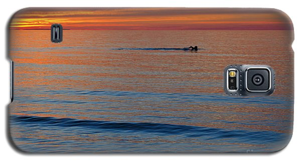 Galaxy S5 Case featuring the photograph Sunset Swimmer by Maria Janicki