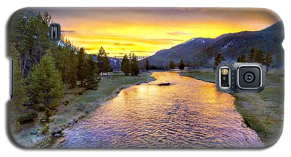 Sunset Yellowstone National Park Madison River Galaxy S5 Case