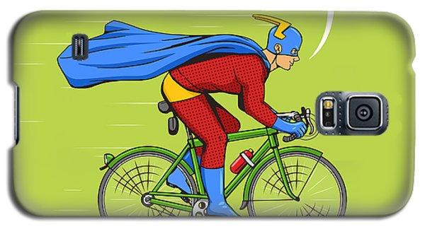 Superhero Galaxy S5 Case - Superhero On A Bicycle Cartoon Pop Art by Alexander p