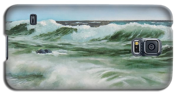 Galaxy S5 Case featuring the painting Surf At Castlerock by Barry Williamson