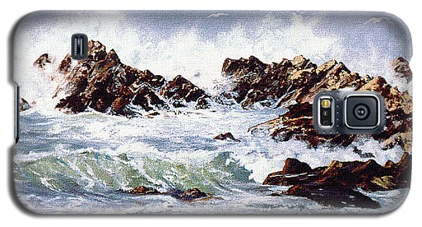 Galaxy S5 Case featuring the painting Surf At Lincoln City by Craig T Burgwardt