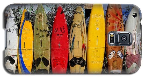 Surf Board Fence Maui Hawaii Galaxy S5 Case by Edward Fielding