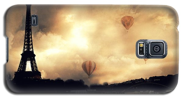 Paris Eiffel Tower Storm Clouds Sunset Sepia Hot Air Balloons Galaxy S5 Case