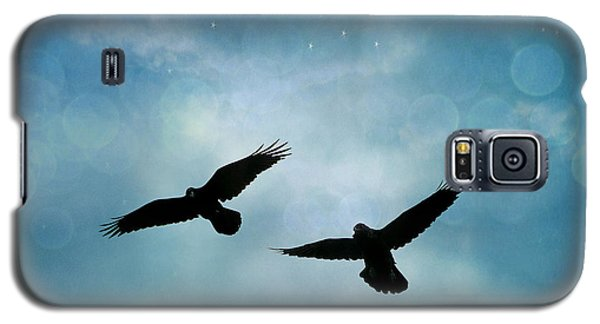Surreal Ravens Crows Flying Blue Sky Stars Galaxy S5 Case by Kathy Fornal