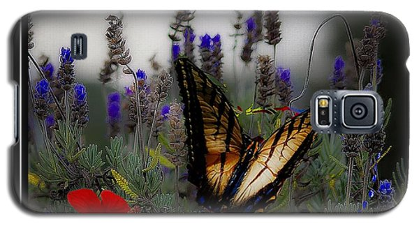 Swallowtail Among Blue Flowers Galaxy S5 Case