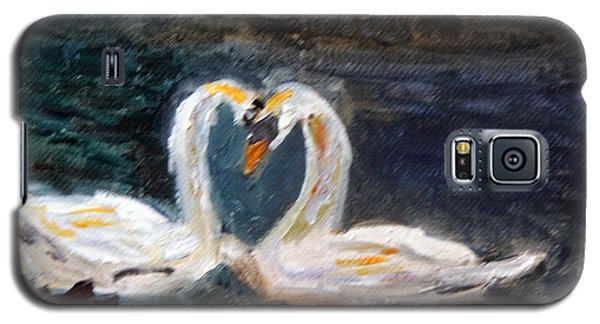 Galaxy S5 Case featuring the painting Swan Lovers by Michael Helfen