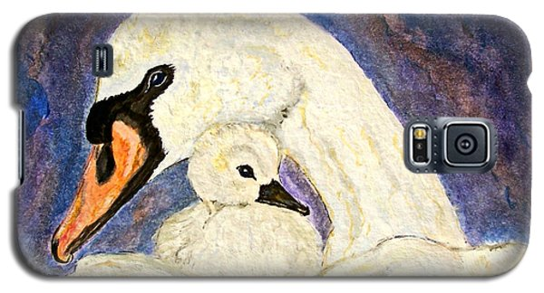 Galaxy S5 Case featuring the painting Mother's Love Swan And Baby Painting by Ella Kaye Dickey