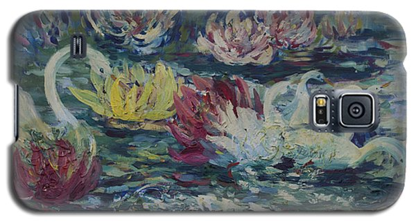 Galaxy S5 Case featuring the painting Swans In Lilies  by Avonelle Kelsey