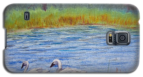 Galaxy S5 Case featuring the painting Swans by Laurianna Taylor
