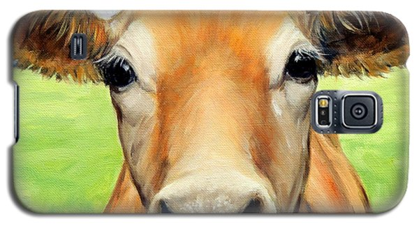 Cow Galaxy S5 Case - Sweet Jersey Cow In Green Grass by Dottie Dracos