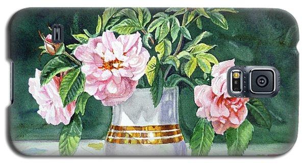 Galaxy S5 Case featuring the painting Sweet Tea Roses Bouquet by Irina Sztukowski