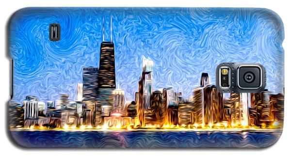 Hancock Building Galaxy S5 Case - Swirly Chicago At Night by Paul Velgos