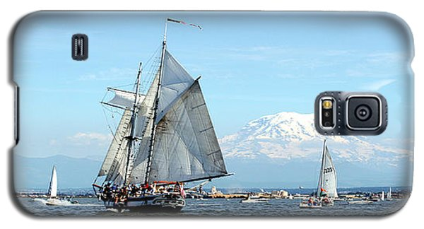 Tall Ship And Mt. Rainier Galaxy S5 Case by John Bushnell
