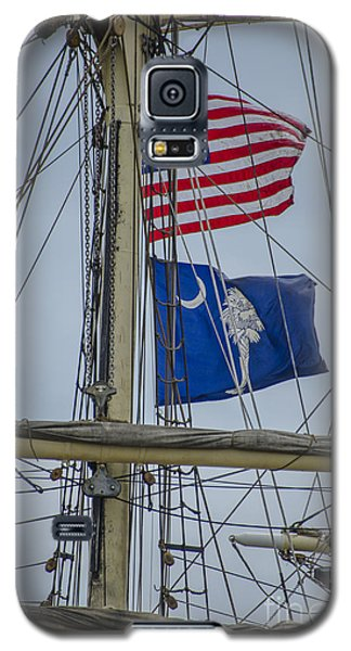 Galaxy S5 Case featuring the photograph Tall Ships Flags by Dale Powell