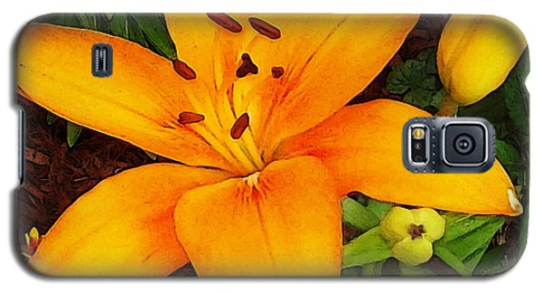 Galaxy S5 Case featuring the photograph Tangerine Asiatic Lily by Shawna Rowe