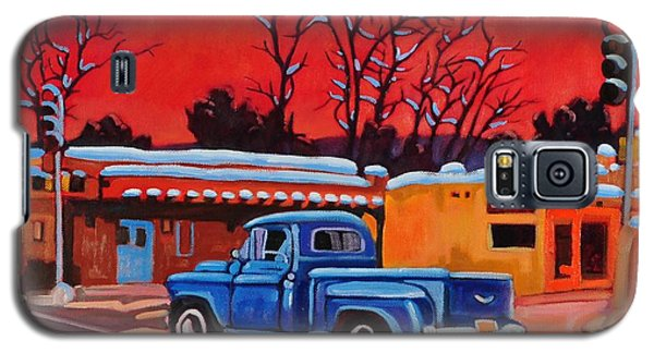 Galaxy S5 Case featuring the painting Taos Blue Truck At Dusk by Art West