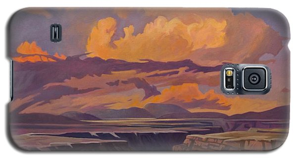 Galaxy S5 Case featuring the painting Taos Gorge - Pastel Sky by Art James West