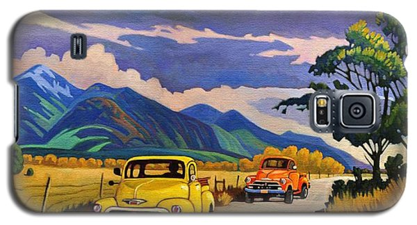 Galaxy S5 Case featuring the painting Taos Joy Ride With Yellow And Orange Trucks by Art West