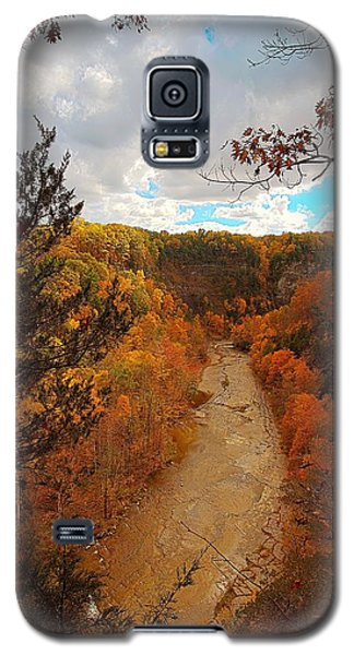 Galaxy S5 Case featuring the painting Taughannock River Canyon In Colorful Fall Ithaca New York IIi by Paul Ge