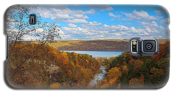 Galaxy S5 Case featuring the painting Taughannock River Canyon In Colorful Fall Ithaca New York Iv by Paul Ge