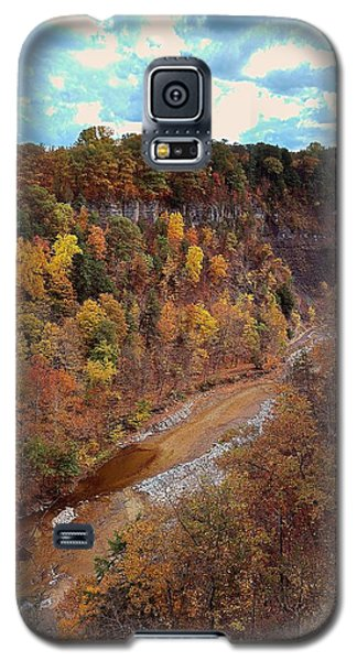Galaxy S5 Case featuring the painting Taughannock River Canyon In Colorful Fall Ithaca New York V by Paul Ge