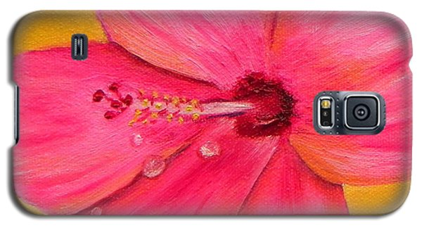Galaxy S5 Case featuring the painting Teardrops - Pink Hibiscus Flower by Shelia Kempf