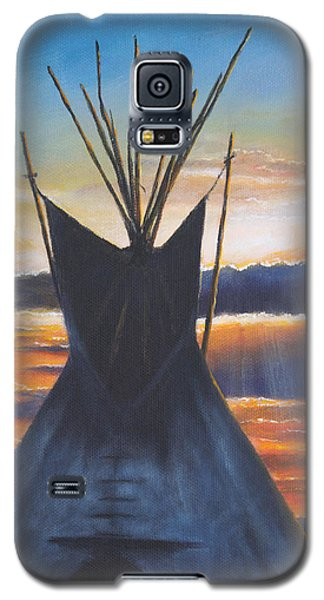 Galaxy S5 Case featuring the painting Teepee At Sunset Part 1 by Kim Lockman