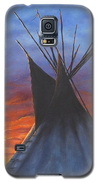 Galaxy S5 Case featuring the painting Teepee At Sunset Part 2 by Kim Lockman