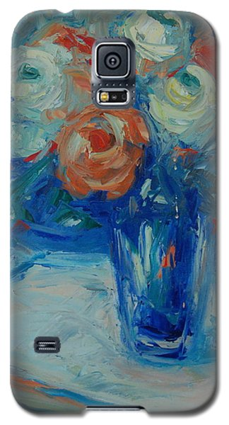 Galaxy S5 Case featuring the painting Ten White And Orange Roses by Thomas Bertram POOLE