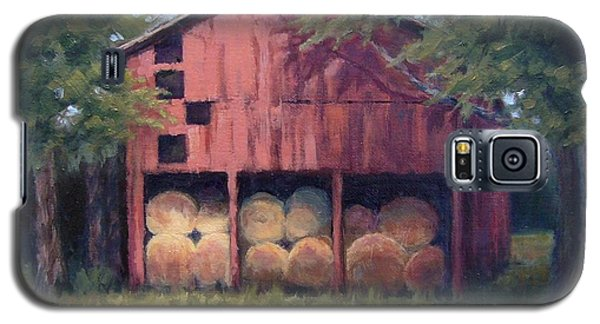 Galaxy S5 Case featuring the painting Tennessee Barn With Hay Bales by Janet King