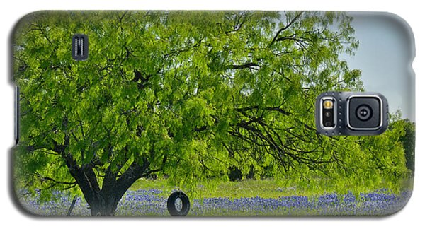 Galaxy S5 Case featuring the photograph Texas Life - Bluebonnet Wildflowers Landscape Tire Swing by Jon Holiday