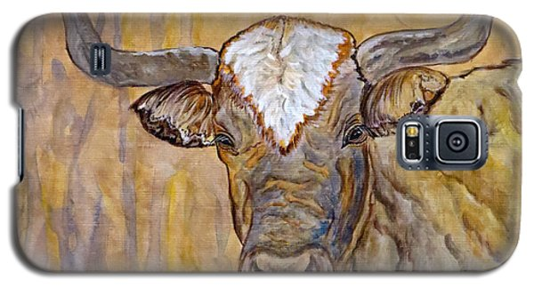 Galaxy S5 Case featuring the painting Texas O Texas Longhorn by Ella Kaye Dickey